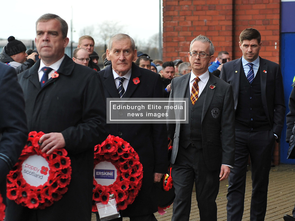 Rangers Manager Stevie Gerrard takes part in a memorial service at Ibrox for Remembrance Sunday ahead of the match between Rangers v Motherwell, Ladbrokes Scottish Premiership, Ibrox, Sunday 11 November 2018  (c) Angie Isac | SportPix.org.uk