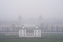 ©Licensed to London News Pictures 22/01/2020<br /> Greenwich, UK. Thick fog above the Queen's House in Greenwich Park, London. Freezing foggy weather conditions continue across London this afternoon. Photo credit: Grant Falvey/LNP