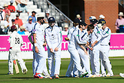 Wicket - Liam Dawson of Hampshire celebrates taking the wicket of Tom Abell of Somerset during the Specsavers County Champ Div 1 match between Somerset County Cricket Club and Hampshire County Cricket Club at the Cooper Associates County Ground, Taunton, United Kingdom on 26 May 2017. Photo by Graham Hunt.