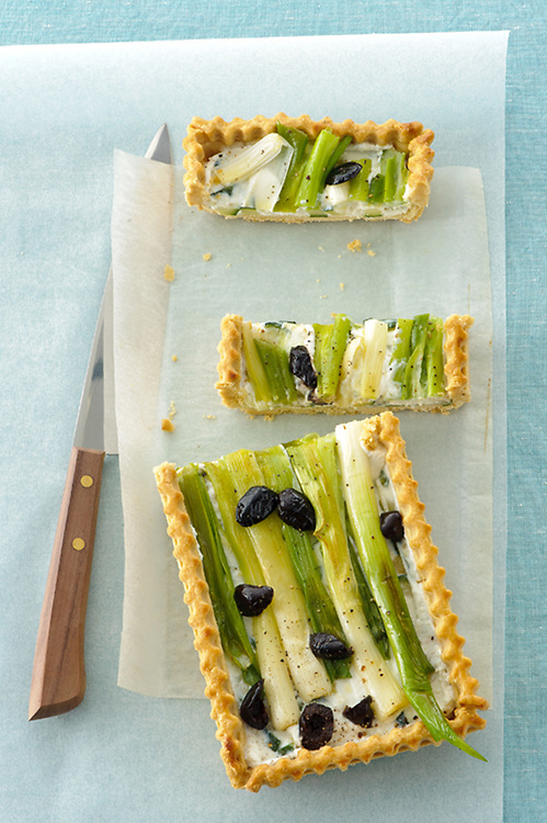 leek and black olive brisee tart