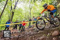 Downhill bicycle race at the 2014 Marquette Trails Festival at Marquette Mountain Ski Area in Marquette, Michigan.  The event showcases the trails of the Noquemanon Trail Network.