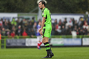 Forest Green Rovers Christian Doidge(9) just after hitting the post during the EFL Sky Bet League 2 match between Forest Green Rovers and Exeter City at the New Lawn, Forest Green, United Kingdom on 9 September 2017. Photo by Shane Healey.