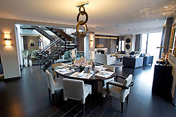 **Home supplement** © Ben Cawthra. 22/01/2013. The dining area at the penthouse apartment of The Lansbury, on Basil Street, London, recently refurbished in to 6 luxury apartments opposite Harrods in central London. Photo credit: Ben Cawthra.