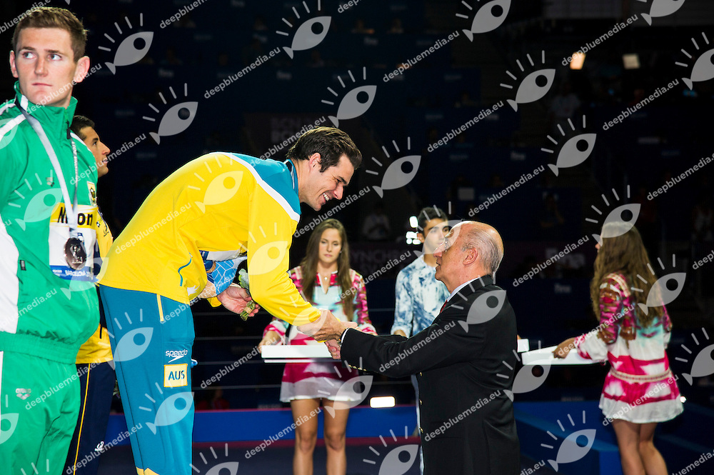 SPRENGER Christian Australia AUS, gold medal<br />  awarded by Julio Maglione, FINA President<br /> 15th FINA World Aquatics Championships<br /> Day-10 swimming finals<br /> Barcelona 19 July - 4 August 2013<br /> Photo G.Scala/Insidefoto/Deepbluemedia.eu