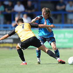 TELFORD COPYRIGHT MIKE SHERIDAN 4/8/2018 - James Mcquilkin is tackled during the National League North fixture between AFC Telford United and Southport FC.