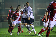 Bolton's Eidur Gudjohnsen (c) in action. Barclays U21 Premier league match, Bolton Wanderers U21's  v Middlesbrough U21's at The Leyland county ground in Bolton, Lancs on Monday 1st December 2014.<br /> pic by Chris Stading, Andrew Orchard sports photography.