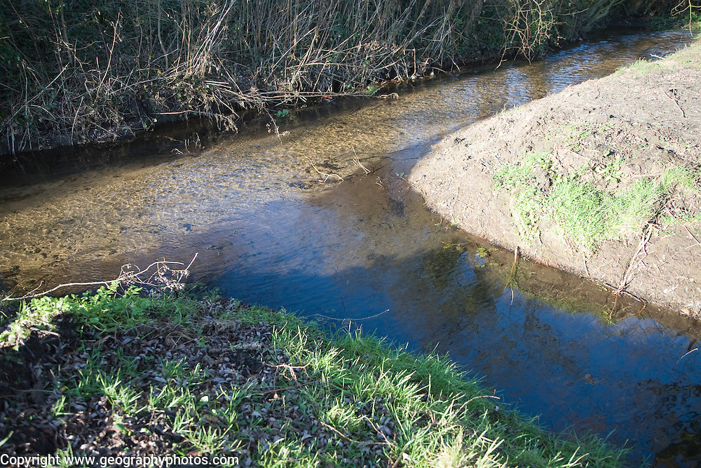 Confluence point of two small streams, Shottisham brook, Suffolk, England