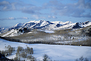 mountains above Bonanza Flats, Park City, Utah, UT with Mt. Timpanogos in far backgroun