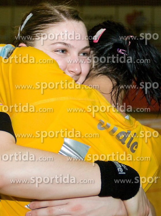 Tamara Mavsar and Urska Vidic celebrate at the Final handball game of the Slovenian Women handball Championship between RK Krim Mercator and RK Olimpija when Krim Mercator won the Championship and became Slovenian National Champion, on May 23, 2009, Kodeljevo, Ljubljana, Slovenia.  (Photo by Klemen Kek / Sportida)