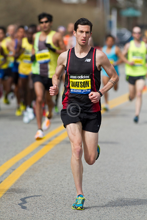 2013 Boston Marathon: Robin Watson, Canada, leads race