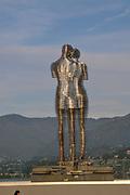 A moving metal sculpture created by Georgian sculptor Tamara Kvesitadze in 2007, titled Man and Woman or Ali and Nino, Batumi, Georgia