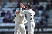 Wicket - Keshav Maharaj of Lancashire celebrates taking the wicket of James Hildreth of Somerset during the Specsavers County Champ Div 1 match between Somerset County Cricket Club and Lancashire County Cricket Club at the Cooper Associates County Ground, Taunton, United Kingdom on 5 September 2018.