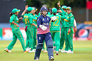 England womens cricket player Tammy Beaumont (wk)  is out during the ICC Women's World Cup match between England and Pakistan at the Fischer County Ground, Grace Road, Leicester, United Kingdom on 27 June 2017. Photo by Simon Davies.