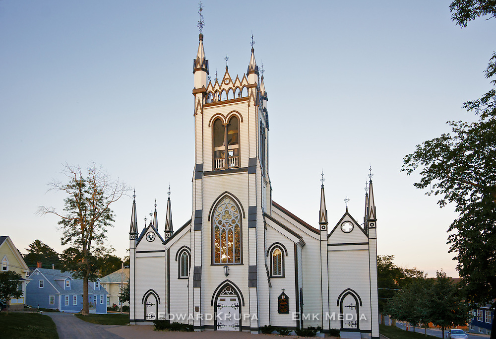 St. John's Anglican Church in Lunenburg NS, built in 1754, was painstakedly restored after a fire set by arsonists Halloween night in 2001.