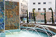 Nahum Gutman fountain with mosaic scenes from the establishment of Tel Aviv and the state of Israel. The fountain is now located at the corner of Rothschild boulevard and Herzl street, Tel Aviv, Israel