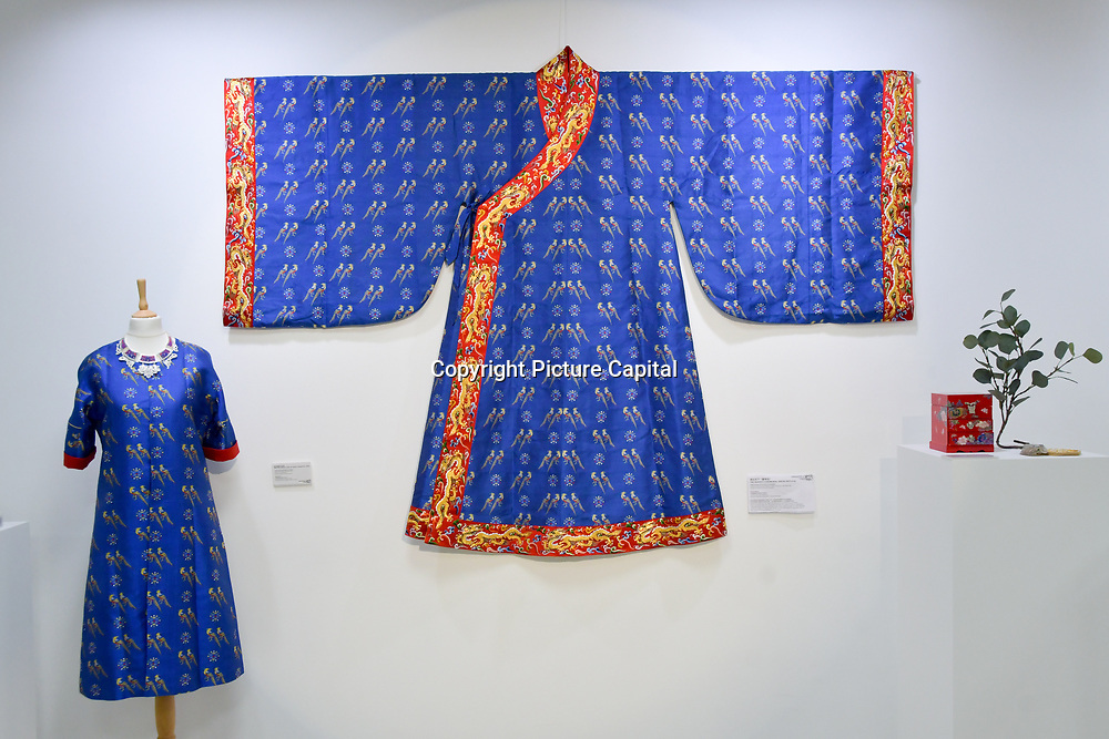 The queen ceremonial dress (Replica) at Amazing China: A Multidisciplinary Exhibition of Chinese Arts and Crafts host by National base of International Cultural Trade (Shanghai) on 10 May 2019, at The Hospital Club 24 Endell Street, London, UK.