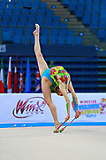 Whelan Carmen during qualifying at clubs in Pesaro World Cup at Adriatic Arena on April 11, 2015. Carmen was born on August 31,1998 in Markham. She is a Canadian individual rhythmic gymnast.