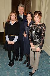 Left to right, TARA PALMER-TOMKINSON, WILLIAM SHAWCROSS, OLGA SHAWCROS and DORRIT MOUSSAIEFF at a party to celebrate the publication of The Romanovs 1613-1918 by Simon Sebag-Montefiore held at The Mandarin Oriental, 66 Knightsbridge, London on 2nd February 2016.