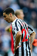 Miguel Almiron (#24) of Newcastle United reacts after his shot hits the frame of the goal during the Premier League match between Newcastle United and Huddersfield Town at St. James's Park, Newcastle, England on 23 February 2019.