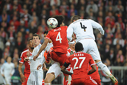 29.04.2014, Allianz Arena, Muenchen, GER, UEFA CL, FC Bayern Muenchen vs Real Madrid, Halbfinale, Ruckspiel, im Bild Sergios Ramos (Real Madrid) koepft das 0:1 fuer Real Madrid. Links daneben Dante (FC Bayern Muenchen) // during the UEFA Champions League Round of 4, 2nd Leg Match between FC Bayern Munich vs Real Madrid at the Allianz Arena in Muenchen, Germany on 2014/04/29. EXPA Pictures © 2014, PhotoCredit: EXPA/ Eibner-Pressefoto/ Stuetzle<br /> <br /> *****ATTENTION - OUT of GER*****