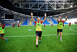 ASTANA, KAZAKHSTAN - Friday, September 15, 2017: Wales' Elise Hughes training at the Astana Arena ahead of the FIFA Women's World Cup 2019 Qualifying Round Group 1 match against Kazakhstan. (Pic by David Rawcliffe/Propaganda)