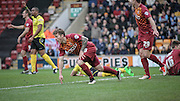 Billy Clarke (Bradford) thinks he has scored, but gets up to find the referee indicating a foul during the The FA Cup match between Bradford City and Chesham FC at the Coral Windows Stadium, Bradford, England on 6 December 2015. Photo by Mark P Doherty.