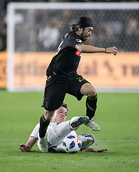 November 1, 2018 - Los Angeles, California, U.S - Lee Nguyen #24 of the LAFC is tackled during their MLS playoff game with the Real Salt Lake on Thursday November 1, 2018 at Banc of California Stadium in Los Angeles, California. LAFC vs Real Salt Lake. (Credit Image: © Prensa Internacional via ZUMA Wire)