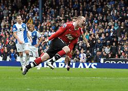 Wayne Rooney celebrates scoring goal from the penalty spot. Blackburn Rovers v Manchester United (1-1) 14/05/11.