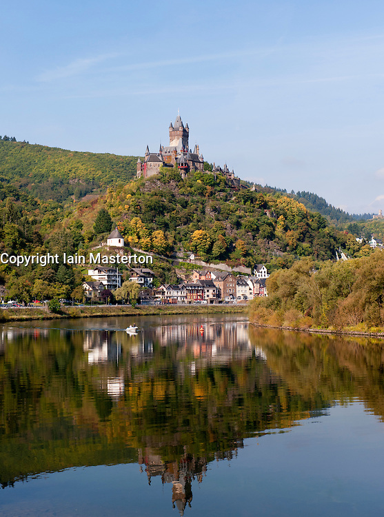 View of castle on hill in Cochem on Mosel River in Rheinland-Palatinate Germany