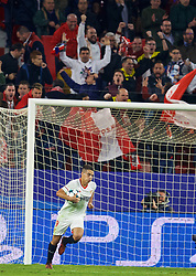 SEVILLE, SPAIN - Tuesday, November 21, 2017: Sevilla's Wissam Ben Yedder celebrates scoring the second goal during the UEFA Champions League Group E match between Sevilla FC and Liverpool FC at the Estadio Ramón Sánchez Pizjuán. (Pic by David Rawcliffe/Propaganda)