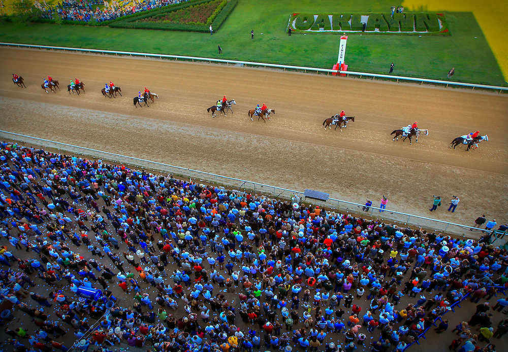 Arkansas Democrat-Gazette/BENJAMIN KRAIN --4/16/11--<br />  during the Arkansas Derby at Oaklawn Park on Saturday.