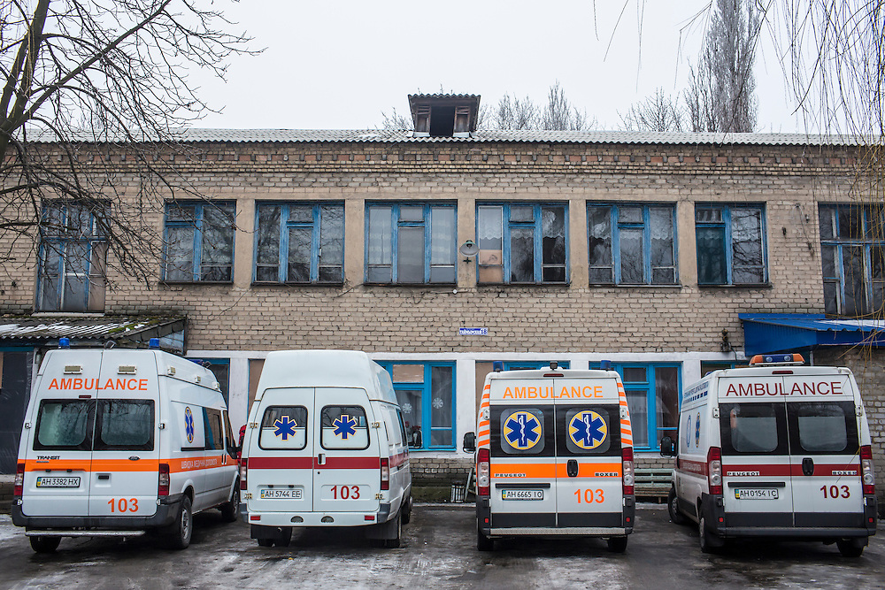 DONETSK, UKRAINE - JANUARY 28, 2015: An ambulance substation in the Petrovskyi district of Donetsk, Ukraine. The area, in the city's southwest, is close to heavy front-line fighting in Marinka and ambulances here are often called on to help victims of shelling. CREDIT: Brendan Hoffman for The New York Times