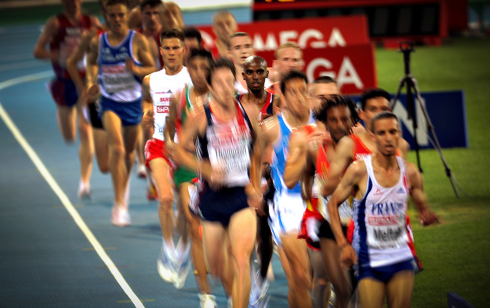 British athlete Farah Mo competes and wins the 10000m event of European Athletics Championships on 27 July 2010 in Barcelona, Spain.