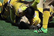 Sutton players celebrating win during the The FA Cup third round replay match between AFC Wimbledon and Sutton United at the Cherry Red Records Stadium, Kingston, England on 17 January 2017. Photo by Matthew Redman.