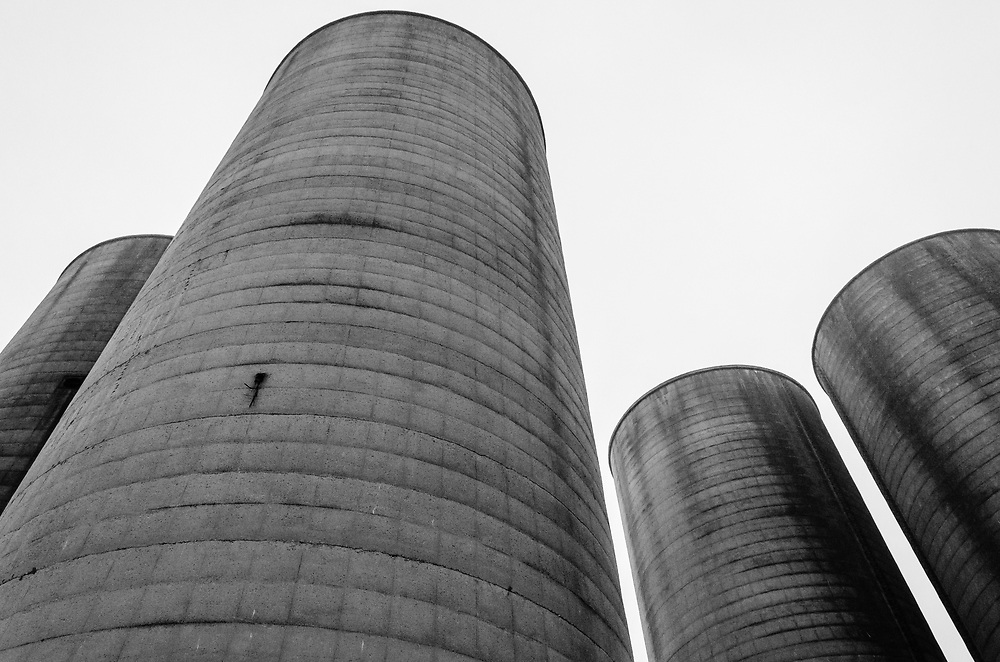 The silos were a landmark in Port Stanley for many years, but were demolished in 2015.