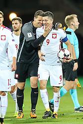 October 5, 2017 - Yerevan, Armenia - Robert Lewandowski (POL), Wojciech Szczesny (POL), during the FIFA World Cup 2018 qualification football match between Armenia and Poland in Yerevan on October 5, 2017. (Credit Image: © Foto Olimpik/NurPhoto via ZUMA Press)