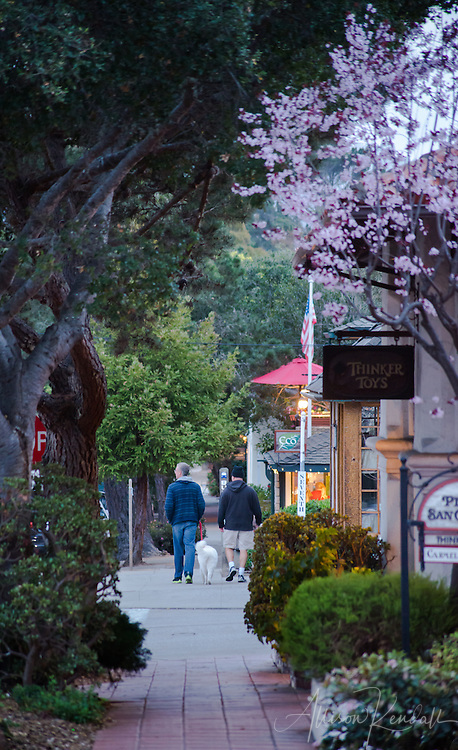 A quiet winter evening in quaint Carmel-by-the-Sea, California.  Quiet shops and streets offer an inviting and relaxing local scene.