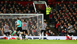 Dwight Gayle of Newcastle United scores his sides first goal - Mandatory by-line: Matt McNulty/JMP - 18/11/2017 - FOOTBALL - Old Trafford - Manchester, England - Manchester United v Newcastle United - Premier League