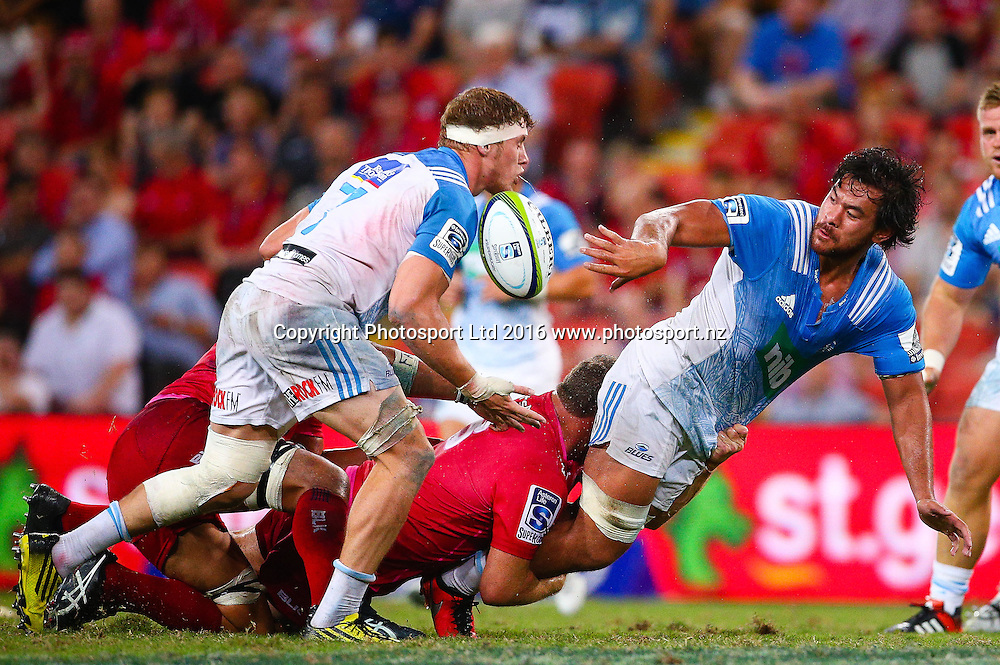 Steven Luatua. Investec Super Rugby, Reds v Blues, Suncorp Stadium, Brisbane, Australia. 19 March 2016. Copyright Image: Patrick Hamilton / www.photosport.nz