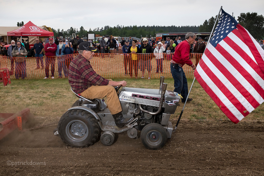 Even the lawn tractors get in the act for the tractor pull competition at the Sequim (WA) Irrigation Festival.