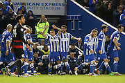 Brighton striker, Anthony Knockaert (27) celebrates the opening goal 1-0 during the Sky Bet Championship match between Brighton and Hove Albion and Queens Park Rangers at the American Express Community Stadium, Brighton and Hove, England on 19 April 2016. Photo by Phil Duncan.
