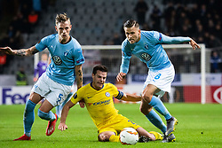 February 14, 2019 - MalmÃ, Sweden - 190214 Sören Rieks and Arnor Traustason of Malmö FF compete for the ball with Callum Hudson-Odoi of Chelsea  during the Europa league match between Malmö FF and Chelsea on February 14, 2019 in Malmö..Photo: Ludvig Thunman / BILDBYRÃ…N / kod LT / 92225 (Credit Image: © Ludvig Thunman/Bildbyran via ZUMA Press)