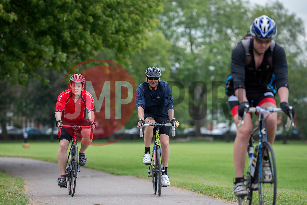 Participants cycle through Greville Smyth Park during Break the Cycle, a 110 mile charity bike ride organised by the Bristol, Bath and Gloucester Rugby Community Foundations, visiting their respective stadia, Ashton Gate, The Recreation Ground and Kingsholm Stadium  - Photo mandatory by-line: Dougie Allward/JMP - Mobile: 07966 386802 - 14/06/2015 - SPORT - Cycling - Bristol - Ashton Gate - Bristol Rugby Community Foundation - Break the Cycle