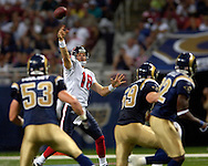 Houston quarterback Sage Rosenfels (18) fires a 41-yard touchdown pass over the St. Louis Rams defenders, during the fourth quarter at the Edward Jones Dome in St. Louis, Missouri, August 19, 2006.  The Texans defeated the Rams 27-20.