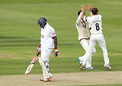 Hampshire's Michael Carberry walks off after being dismissed by Somerset's Alfonso Thomas - Photo mandatory by-line: Robbie Stephenson/JMP - Mobile: 07966 386802 - 22/06/2015 - SPORT - Cricket - Southampton - The Ageas Bowl - Hampshire v Somerset - County Championship Division One