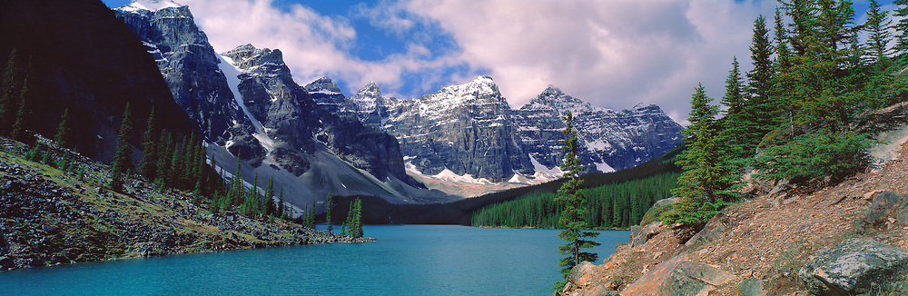 Clouds hide the peaks on a summer day on Moraine Lake in the Valley of the Ten Peaks in Banff NP, Alberta, Canada. ©Ric Ergenbright