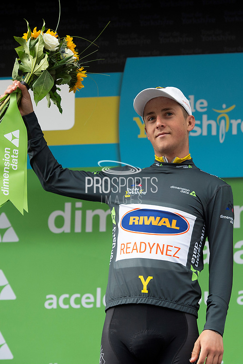 Lucas Eriksson of Riwal Readynez on stage for the Dimension Data Digital Jersey winner presentation during stage four of the Tour de Yorkshire from Halifax to Leeds, , United Kingdom on 4 May 2019.