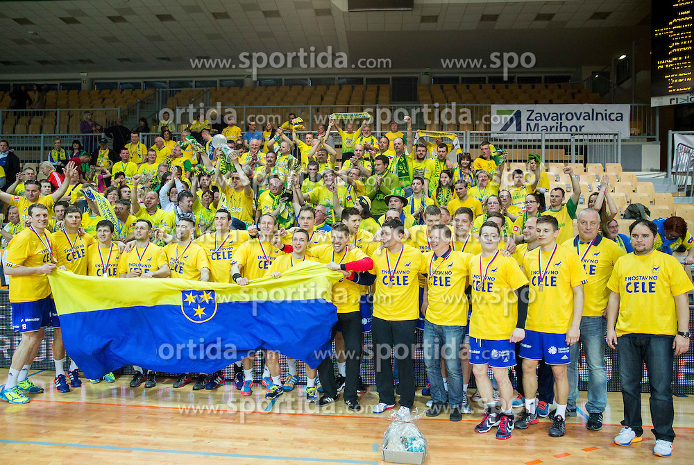 Players of Celje Pivovarna Lasko celebrate after winning during handball match between RK Celje Pivovarna Lasko and RK Gorenje Velenje in Final of Slovenian Handball Cup 2015, on March 29, 2015 in Arena Bonifika, Koper, Slovenia. RK Celje Pivovarna Lasko became Slovenian Cup Champion 2015. Photo by Vid Ponikvar / Sportida