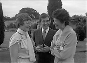 06/09/1978<br /> 09/06/1978<br /> 06 September 1978<br /> Reception for Mr. Sean Donlon, New Irish Ambassador to the United States, at the U.S. Embassy Residence, Phoenix Park, Dublin. Image shows Mrs Donlon?; Sean Donlon and Elizabeth McNelly Shannon.