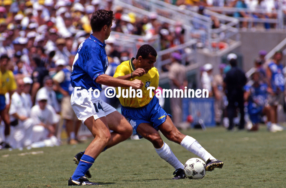 FIFA World Cup - USA 1994<br /> 17.7.1994, Rose Bowl Stadium, Pasadena, California.<br /> World Cup Final, Brazil v Italy.<br /> Caf&uacute; (Brazil) v Nicola Berti (Italy).<br /> Full name: Marcos Evangelista de Moraes